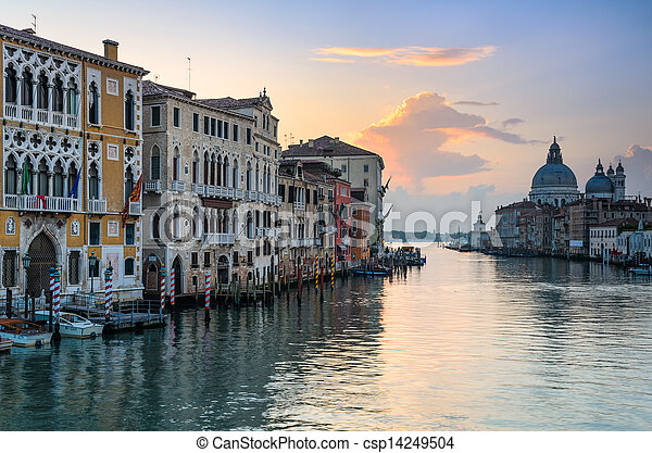 Sunrise at the Grand Canal, Venice - csp14249504