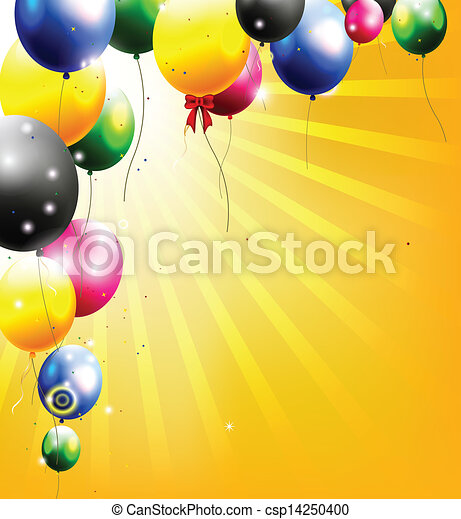 birthday background with balloon - csp14250400