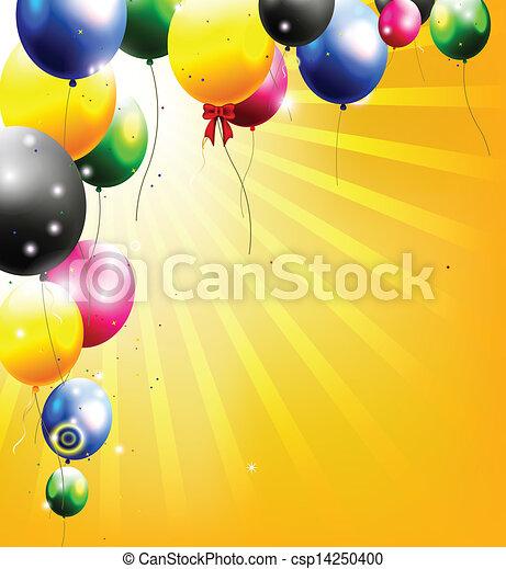 birthday background with balloon  - csp14250400