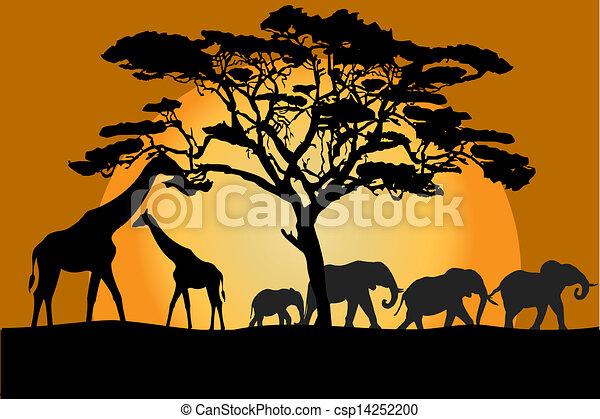 Clipart vecteur de savane animaux paysage savannah paysage animaux csp14252200 - La savane dessin ...