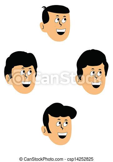 vektor illustration von knaben frisuren frisuren knaben f nfziger jahre csp14252825. Black Bedroom Furniture Sets. Home Design Ideas