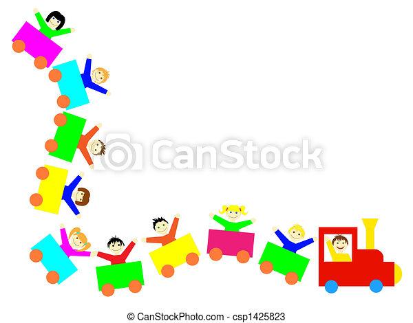 crianças, trem - csp1425823