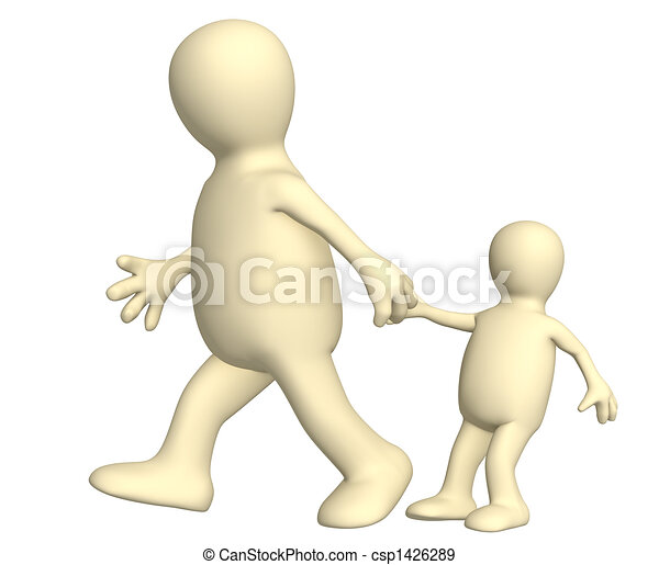 Puppet - adult, pulling for a hand of the small child - csp1426289