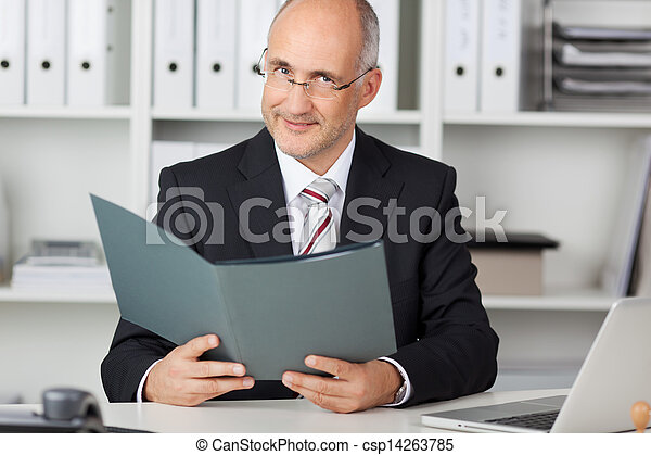 Mature Businessman Holding File At Office Desk - csp14263785