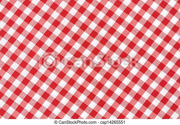 Red and white tablecloth diagonal