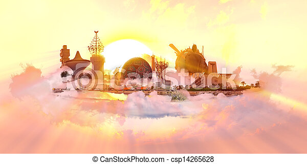 Famous Landmarks with sun at sunset - csp14265628
