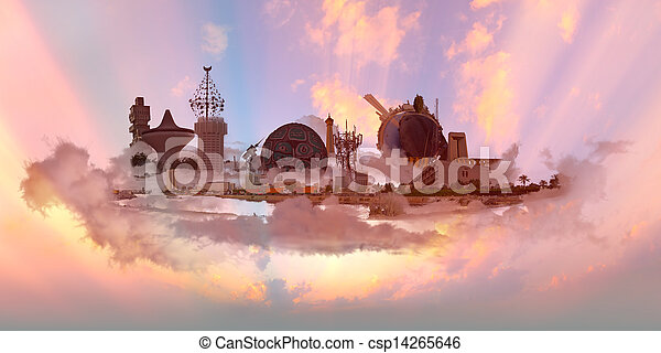 Famous Landmarks at sunset - csp14265646