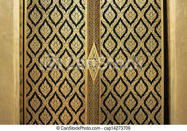 Lai-thai door - csp14273709 & Stock Photography of Lai-thai door - abstract golden-red lai-Thai ... Pezcame.Com