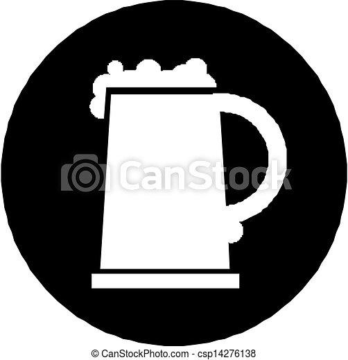 矢量-啤酒, 杯子, 图标, 隔离, 白色