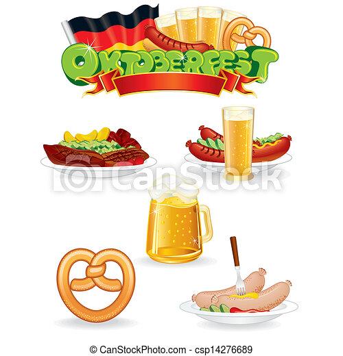 Vector - Oktoberfest, Voedingsmiddelen, drank, iconen, Vector, grafiek ...