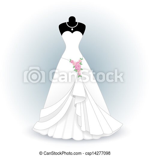 Eps vectors of wedding dress csp14277098 search clip art for How to draw a wedding dress