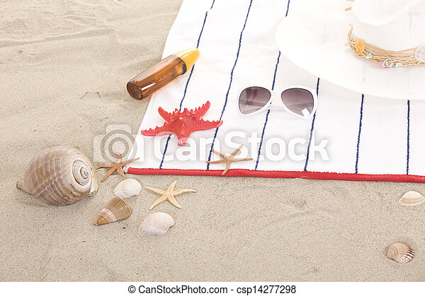 beach items on sand for fun summer holiday - csp14277298