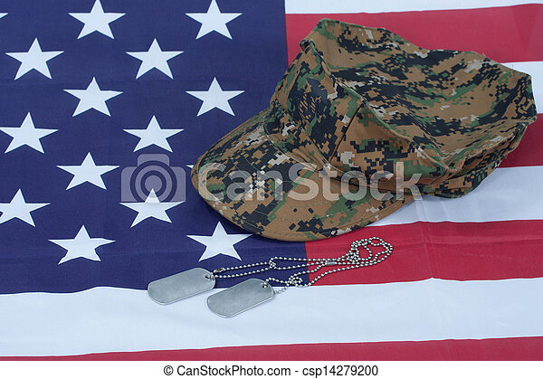 us marine camouflage cap with blank dog tag on us flag background - csp14279200