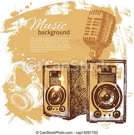 Music vintage background. Hand drawn illustration. Splash blob retro design with speakers  - csp14281763