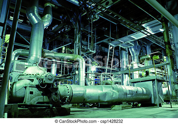 Equipment, cables and piping as found inside of a modern industrial power plant. - csp1428232