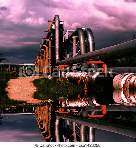industrial pipelines on pipe-bridge against blue sky - csp1428258