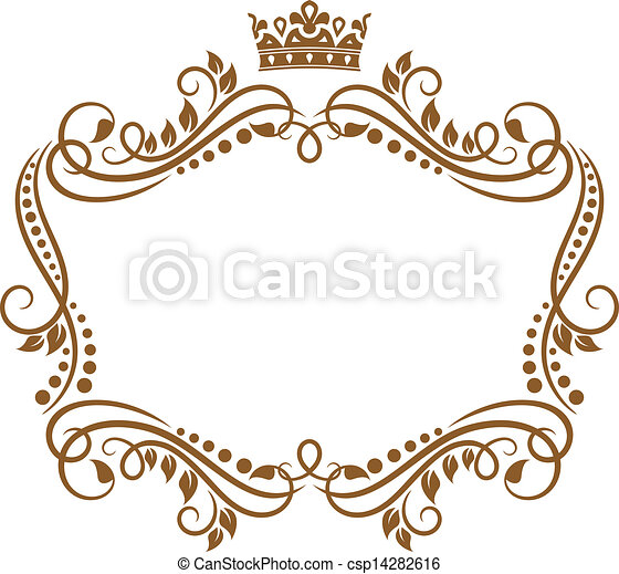 Retro frame with royal crown and flowers - csp14282616