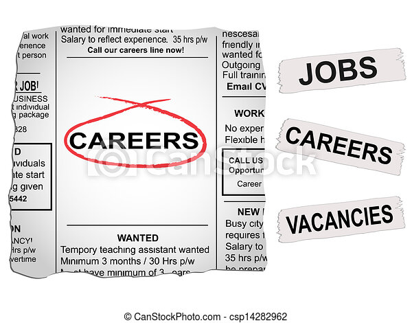 Clip Art Vector of Careers Newspaper - Vector newspaper clipping ...