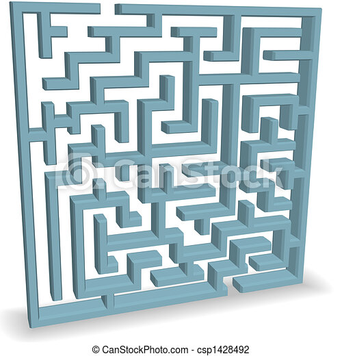Upright Blue Maze Puzzle on Shadow  - csp1428492