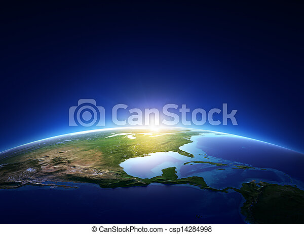 Earth sunrise over cloudless North America - csp14284998