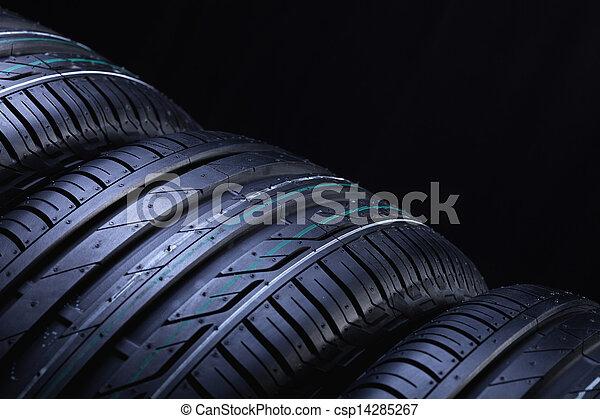 New automobile tires closeup - csp14285267