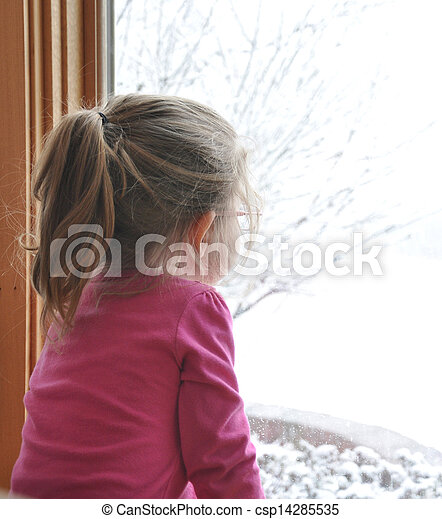 Child Looking Out Winter Window - csp14285535