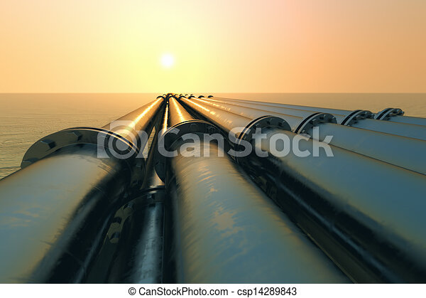 Pipeline sunset. - csp14289843
