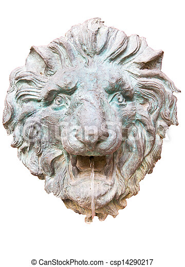 Closeup of antique lion spitting water  - csp14290217