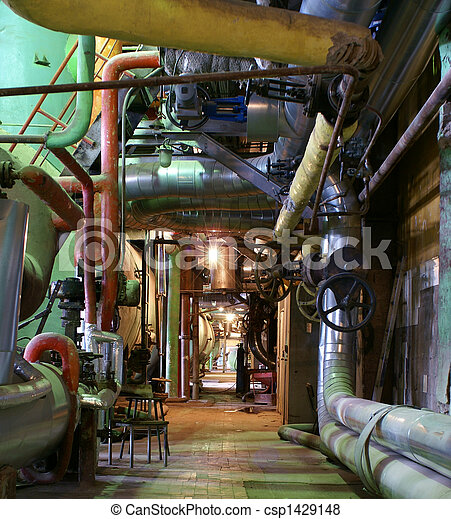 Pipes, tubes, machinery and steam turbine at a power plant - csp1429148