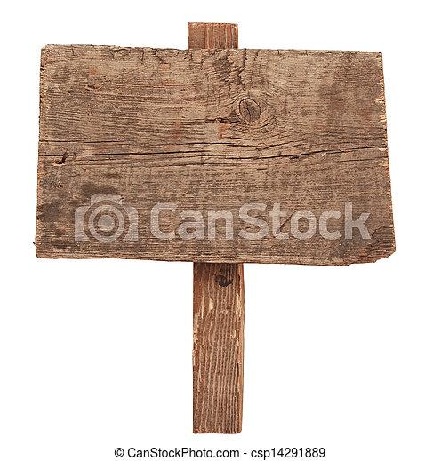 老, 木制, 徵候。, 被隔离, 簽署, 木頭, white., 板條 - csp14291889