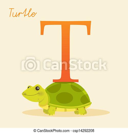 Animal alphabet with turtle - csp14292208