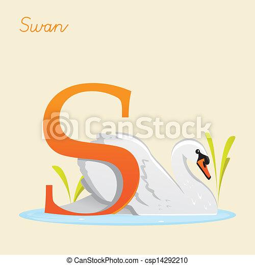 Animal alphabet with swan - csp14292210