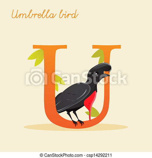 Animal alphabet with umbrella bird - csp14292211