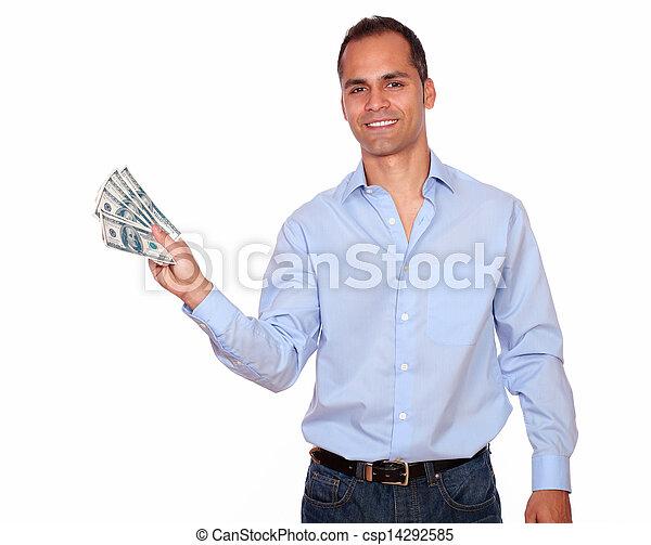 Smiling adult man holding cash dollars - csp14292585