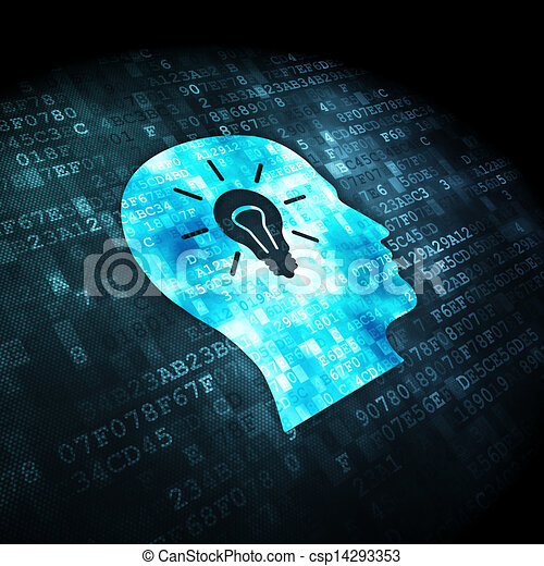 Data concept: Head Whis Light Bulb on digital background - csp14293353