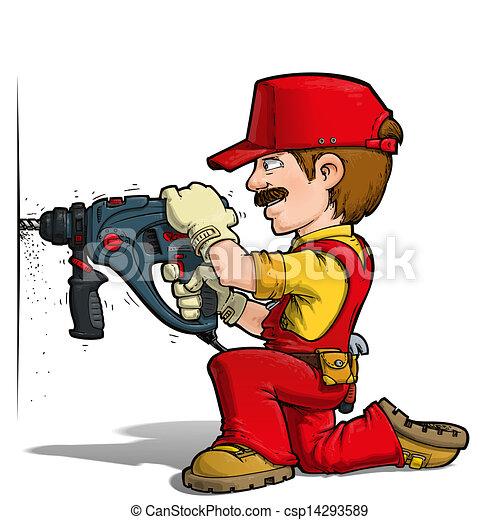 Illustration de bricoleur forage rouges dessin - Bricoleur dessin ...