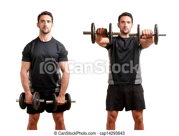 Man Working Out With Dumbbels - csp14293643