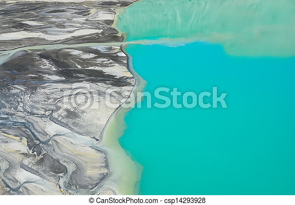 Detail aerial view of river flowing into mountain lake - csp14293928