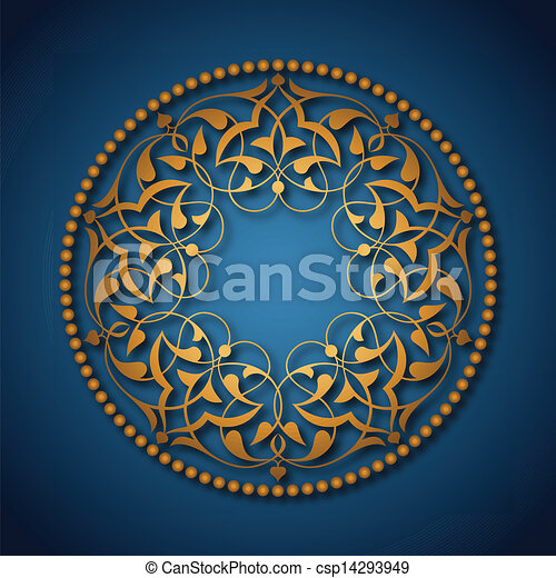 Golden Ottoman patterns over blue - csp14293949