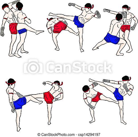 hand drawn Thai martial arts and muay thai boran