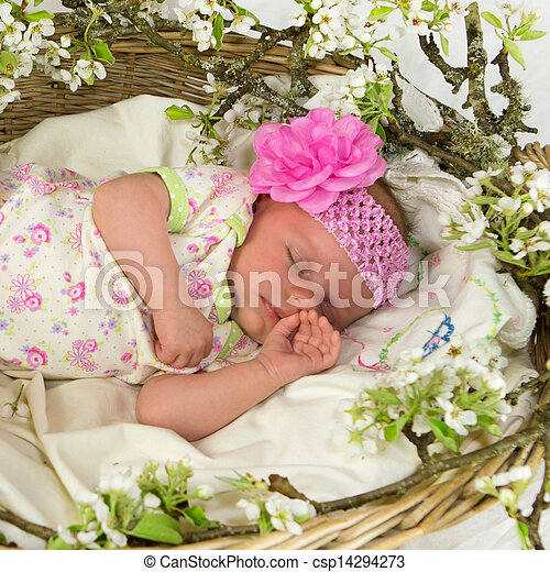 Baby girl inside of basket with spring flowers. - csp14294273