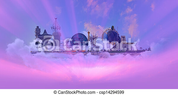 Famous Landmarks with pink sky - csp14294599