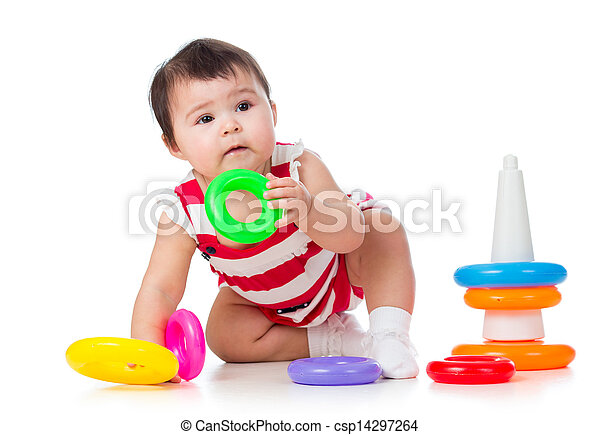 toddler girl playing with pyramid toy - csp14297264