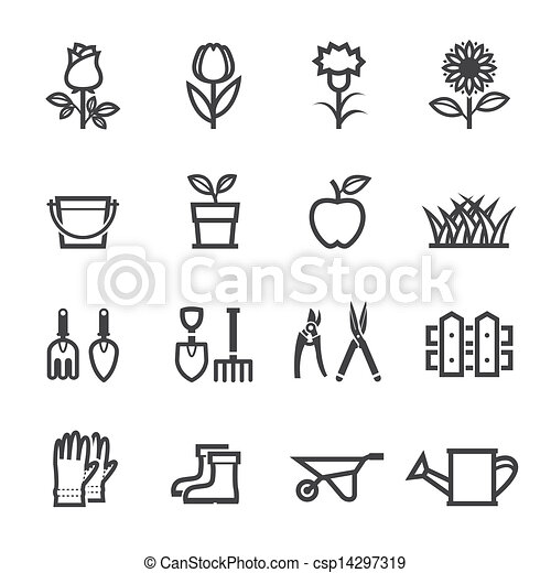 Vector Clip Art of Flower Icons and Gardening Tools Icons with ...