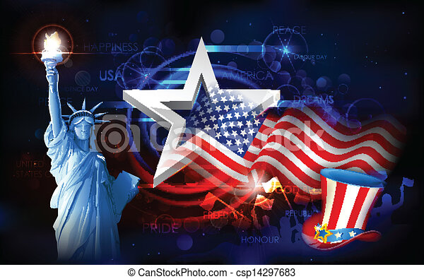 Statue of Liberty with American Flag - csp14297683