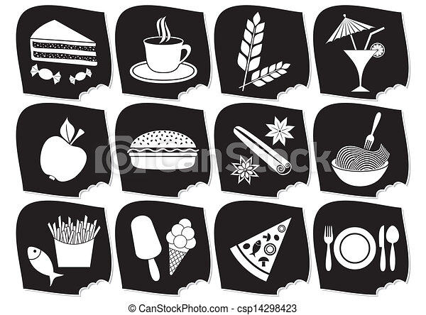 Vector Illustration of Food and drink icons - Set of twelve black ...