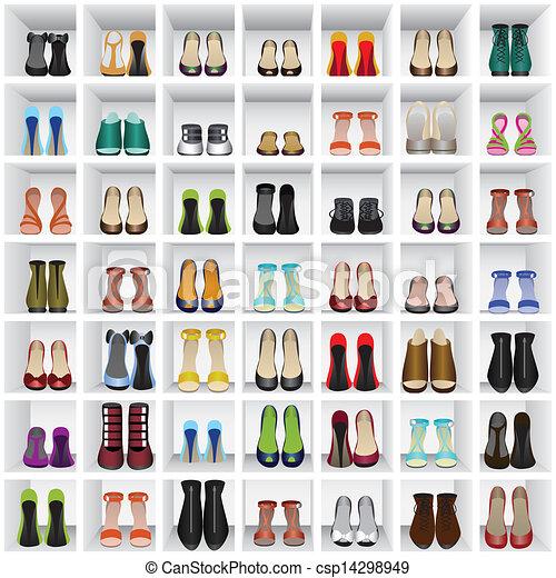 Vetor eps de sapatos prateleiras loja seamless fundo for Sala de estar 3x5