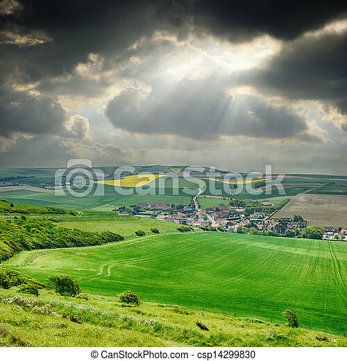 Rural landscape with small village - csp14299830