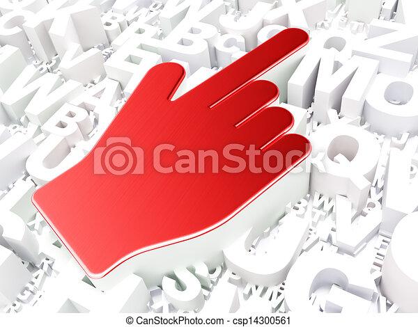 Web design concept: Mouse Cursor on alphabet background - csp14300561