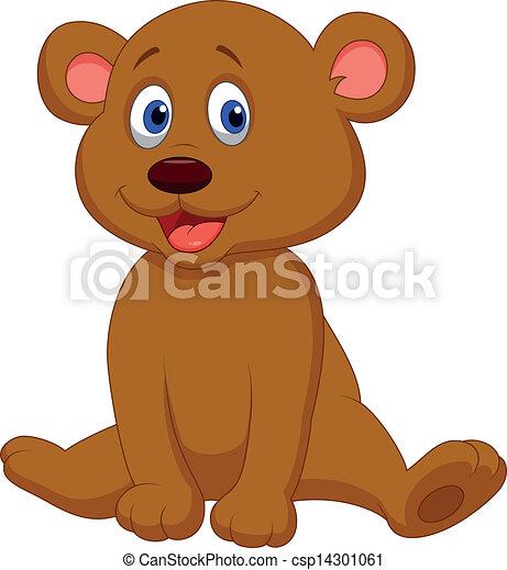 Vector - Cute baby bear cartoon - stock illustration, royalty free ...